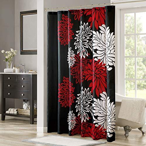 "Comfort Spaces Enya Bathroom Shower Floral Printed Cute Chic Microfiber Fabric Bath Curtains, 72""x72"", Red/Black"