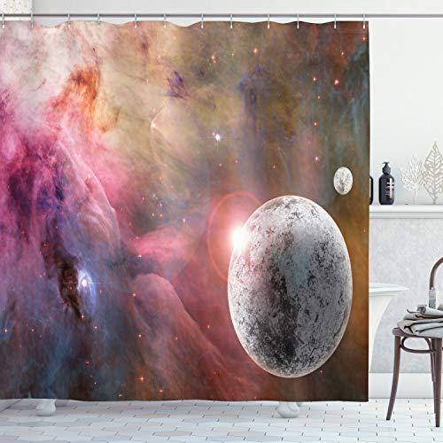 ABAKUHAUS Rosa Duschvorhang, Frozen Planet Nebula, Wasser Blickdicht inkl.12 Ringe Langhaltig Bakterie & Schimmel Resistent, 175 x 180 cm, Rosa Grau