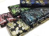 Nero metallico broccato tessuto Roses giacche/gilè/cuscini/tende CF313, Gold/Silver-Black, 0,9 m