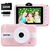 Kids Camera, Digital Camera for Kids Gifts, Camera for Kids 3-10 Year Old 3.5 Inch Large Screen with 32GB SD Card, SD Card Reader, 2019 Upgraded (Pink)