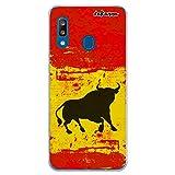 dakanna Funda Compatible con [Samsung Galaxy A20 - A30] de Silicona Flexible, Dibujo Diseño [Bandera españa con Toro], Color [Borde Transparente] Carcasa Case Cover de Gel TPU para Smartphone
