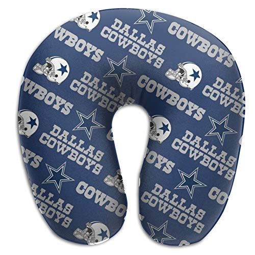 Team ProMark Dallas Cowboys Soft U-Shaped Neck Pillow,Memory Foam Travel Pillows with Pillow Core for Head and Neck Support