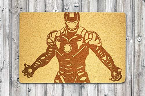 StarlingShop Felpudo de Iron Man Iron Man Felpudo de bienvenida Hi Felpudo de Indoor Felpudo de puerta respetuoso con el medio ambiente, decoración para el hogar, regalo de cumpleaños