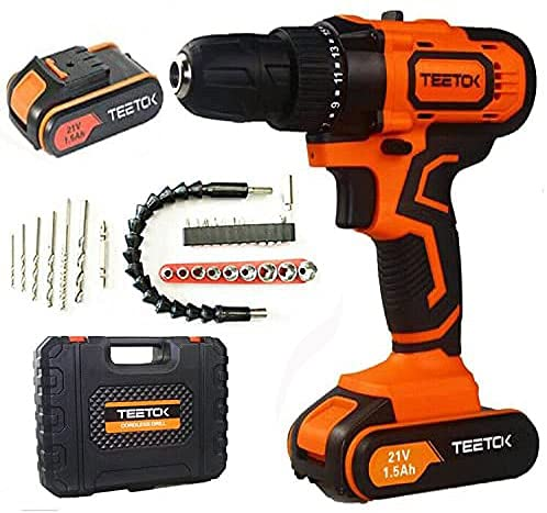 21V Cordless Drill Driver Screwdriver Combi Drill 29PCS 45N.m Impact Power Tool, Fast Charger, 17 + 1 Torque Cordless Drill