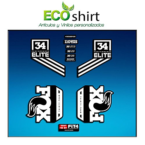 Ecoshirt FV-3IKO-ZTT5 Aufkleber Fork Fox 34 Performance Elite 2017 Am80 Aufkleber Decals Sticker Gabel Gabel, Weiß