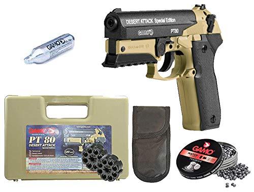 Tiendas LGP- Gamo, Pistola Aire comprimido (CO2) PT-80 Desert Attack Edición Especial, Pistola perdigones, Potencia 3 Julios, Calibre 4,5 mm + Funda portabombonas + Balines + Bombona CO2.