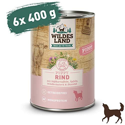 Wildes Land | Nassfutter für Hunde | Puppy Rind | 6 x 400 g | mit Süßkartoffeln, Äpfeln, Wildkräutern & Distelöl | Glutenfrei | Extra viel Fleisch | Beste Akzeptanz und Verträglichkeit