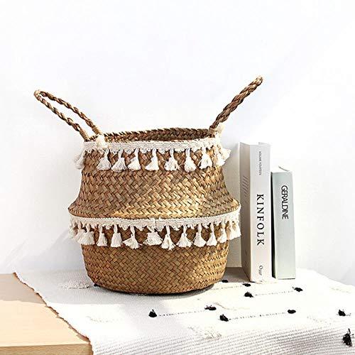 Ltong Zeegras Geweven Opbergmand Plant Rieten Hangmanden Tuin Bloemenvaas Ingemaakte Opvouwbare Pot, Wit, 27cmX23cm