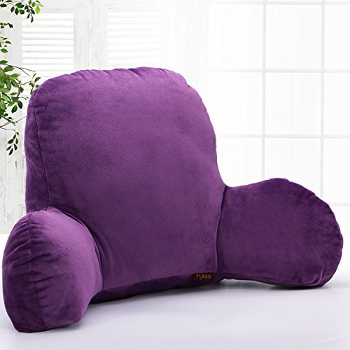 Mystery&Melody Reading Pillow Firm Back Support & Comfy Cushion for Bed/Sofa/Couch/TV - Head Waist Support Pillow for Pregnant Women (Purple, L)