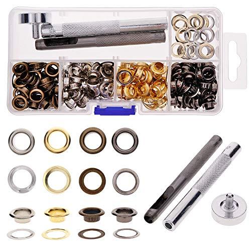 Keyzone - Juego de 200 herramientas para ojales, cobre, arandelas, plata, negro, dorado, bronce, con alicates para bricolaje, artesanía