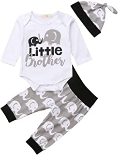 Newborn Baby Boys Little Brother Outfits Long Sleeve Romper Bodysuit+Elephant Pants Leggings Hat Clothes Set