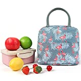 gray lunch bag with pink flamingos