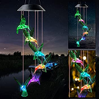 JOBOSI Hummingbird Wind Chimes Solar Wind Chimes Outdoor intdoor Decor Hummingbird Gifts Gifts fo Mom Grandmother Dad Mother Friends Childs Thanksgiving Gifts mom Best Gifts Memorial Wind Chimes