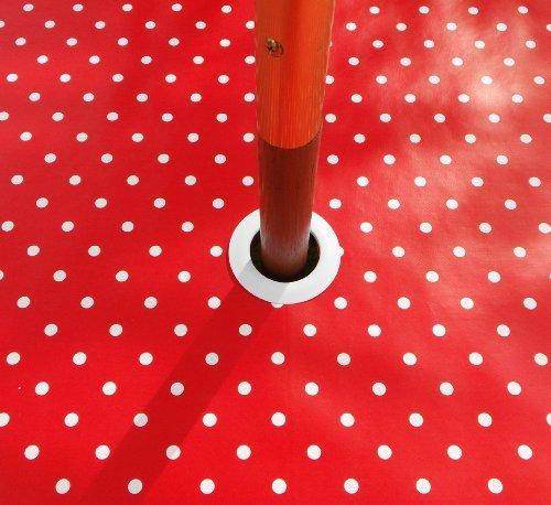 139,7x 198,1cm (1,4m x 2m) mit Sonnenschirm Loch Tischdecke, PVC/Vinyl, oval, gepunktet, Rot