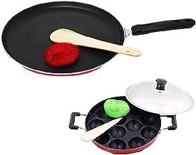 EuroSleek Non Stick Dosa Tawa and Appam Patra 12 Cavities with Lid Cookware Set