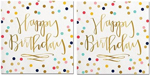 Happy Birthday Napkins (2 Sets of 20) - Fun Multi Color Confetti Polkadot Print with Metallic Gold Happy Birthday Message