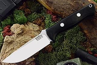 Bark River Bravo 1 Fixed Blade Knife, Steel Blade, Black Canvas Micarta Handle