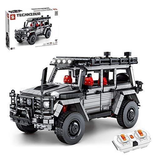 ZCXX Modelo todoterreno teledirigido todoterreno con motores e iluminación MOC, juego de construcción con bloques de sujeción, compatible con Lego Technic, SEMBO 8790