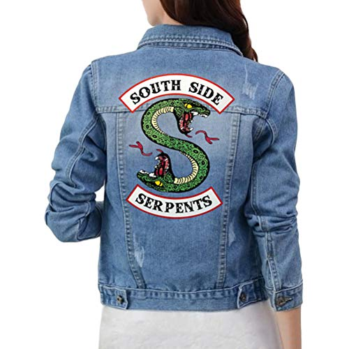 Yesgirl Riverdale Southside Serpents Chaqueta para Mujer Adolescentes De Corte Ajustado Chaqueta Vaquera Sin Abdomen Chaqueta Corta Chaqueta De Invierno Sudadera Azul Claro C Small