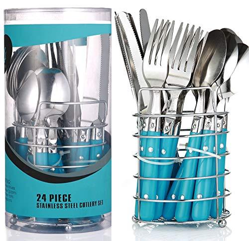 Besteckset mit Besteckkorb 24 teilig Blau | 6 Person | Edelstahl - Spülmaschinenfest | Besteck set - Essbesteck mit Ständer