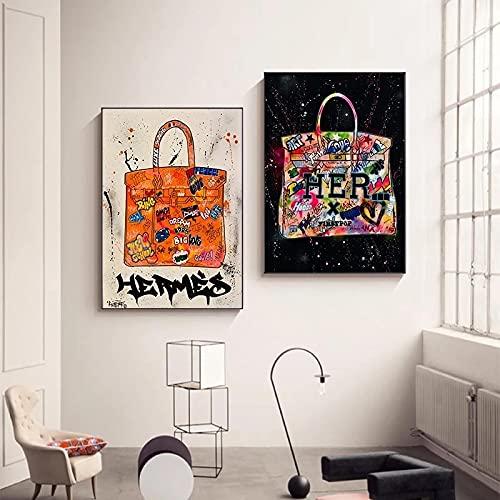 Impresión de la lona moderna de la moda Birkin bolsa decoración cartel arte pared cuadros para la sala de estar decoración del hogar 40x65cmx2 sin marco