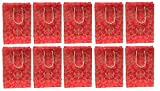 RjKart Handmade Gift Paper Carry Bags Red and Golden Bag Pack of 10 (H-10, L-8, W-3)