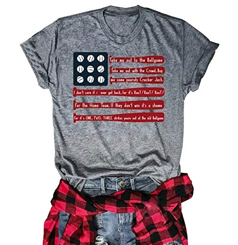 4th of July T-Shirt Women Baseball Graphic American Flag...