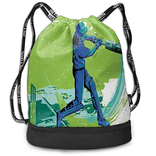 LULABE Printed Drawstring Backpacks Bags,Cricket Player Pitching Win Game Champion Team Paintbrush Effect,Adjustable String Closure