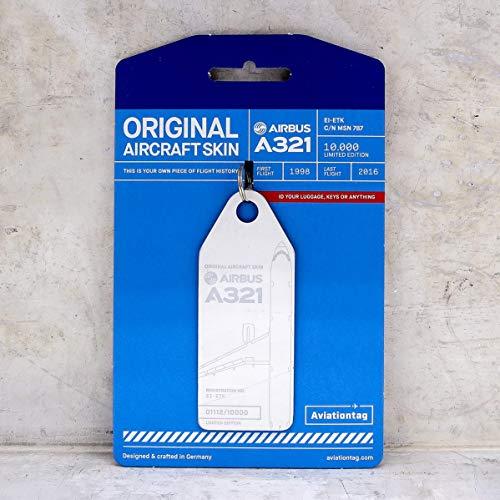 Aviationtag - Schlüsselanhänger aus original Flugzeughaut - Metrojet - Airbus A321 - EI-ETK - limitiert auf 10.000 Stück