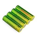 4pcs Rechargeable Li-ion 3.7V 5000mAh Battery Button Top Batteries for Led Flashlight, Headlamp, Emergency Lighting