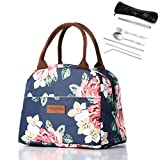 Large Capacity Insulated Lunch Bag and Stainless Steel Cutlery Set with Storage Bag
