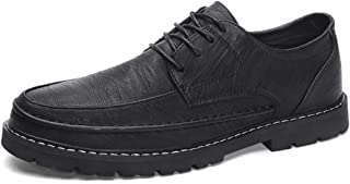 ZHANGLEI Fashion Oxfords for Men Dress Shoes Lace up Microfiber Leather Rubber Sole Round Toe Sewing Thread Lightweight Solid Color Non-Slip (Color : Black, Size : 7.5 UK)