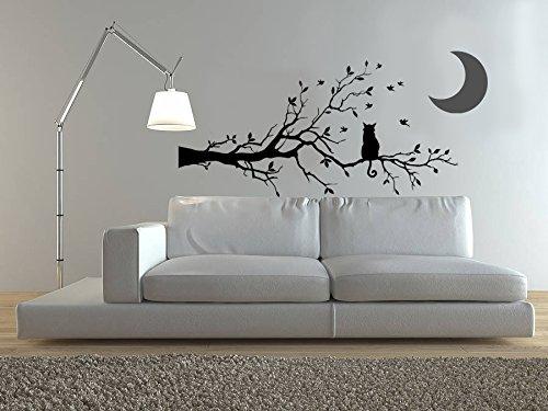 Vinyle décoratif Cat Moon Branch. (120 x 60 cm et 30 x 30 cm. Env.) couleur Noir et gris.