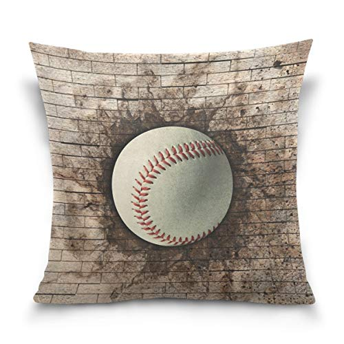 lucies Throw Pillow Case Decorative Cushion Cover Square Pillowcase, Vintage 3D Baseball Sport Sofa Bed Pillow Case Cover(18x18inch) Twin Sides