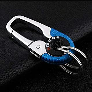 Smart Key Ring Alloy Metal Car Keyring Holder Organiser Chain Heavy Duty Gift (Blue)
