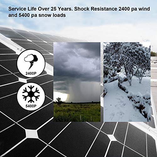 ECO-WORTHY 12V 150W Mono Solar Panel System with 20A LCD Charge Controller, 5 m Solar Adaptor Kit, Z Supports for Off Grid RV Motorhome Boat