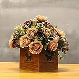 LLPXCC Flores artificiales Creativo casa floral mesa de comedor salón moderno sencillo unión flores decorativas de madera jarrones plantas flores de plástico matrimonio estudio brown rosas
