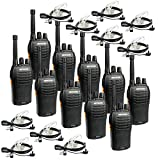 Retevis RT46 2 Way Radio,Walkie Talkie Adult with Earpiece,Long Range Two-Way Radio, Emergency Dual Power VOX,for Business Security Use(10 Pack)