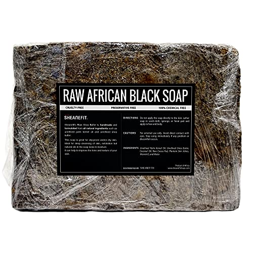 Sheanefit Raw African Black Soap Bar - For All Skin Types - Face, Body, Hair Wash, Exfoliating Soap...