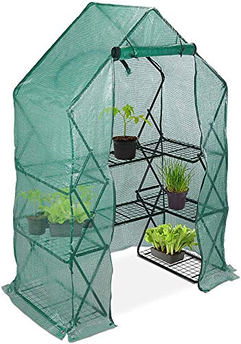 Tienda Portátil Mini plegable con estantes Steping Paseos de aluminio Invernadero, Balcón y Jardín,Green