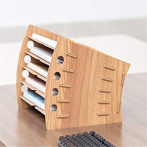 Estantería Archivo Estantería A4 File en capas Suministros de oficina Rack Data Rack Papelería de escritorio Carpeta de escritorio Caja de almacenamiento de madera Rack de almacenamiento de archivos O