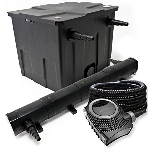 WilTec Pond Kit de Filtration avec 12000l, 72W UV Stérilisateur, Pompe, Tuyau, Skimmer et Pompe de Fontaine
