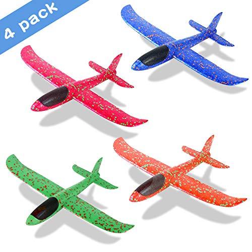 Sinwind Avión Planeador, 4 Unidades de avión de Espuma para Deportes al Aire Libre, Que lanzan los planeadores de Whirly Glider para los Cabritos, Juguete Volador para niños como Regalo