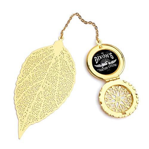 Dixons Custom Cycles Walking Dead Vintage and Beautiful Leaf Bookmarks, Metal Leaf and Exquisite Pattern Pendants