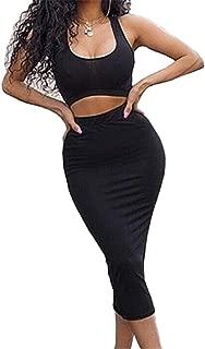 Women's Sexy Summer Outfits Bodycon Tank Top Midi Skirt 2 Piece Dress
