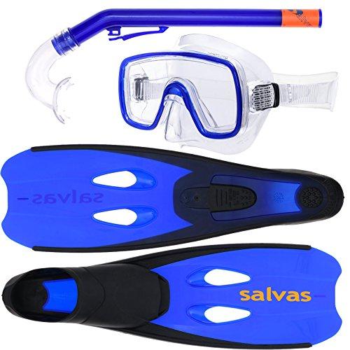Salvas Schnorchelset für Kinder Cancun, Taucherbrille, Anti-Allergie Silikon, Schwimmflossen, Schnorchel, Tauchset, Blau [34-35]