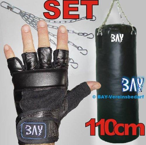 BAY® LEDER Boxset Sandsack+Handschuhe