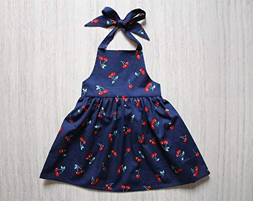 Cherry Navy Girls Apron Dress Navy Pinafore Halter Dress