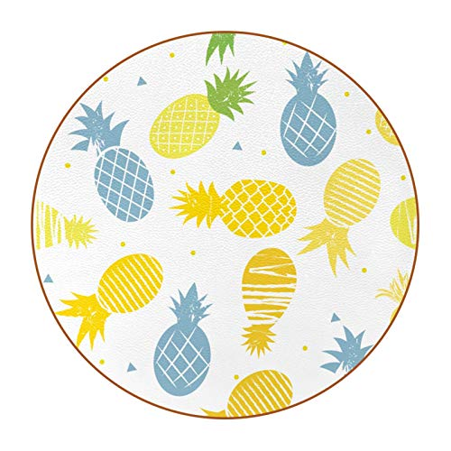 Sottobicchieri in Pelle Microfibra Mattonelle di ananas Set Sottobicchieri da 6 - Rotondi, per Birra, Tazza da caffè tè, Bottiglie - Festa, Casa, Ufficio e Altro 11cm