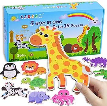 Casaon 18-Pack Dinosaur Series & Animal Series & Ocean Series Box Puzzles